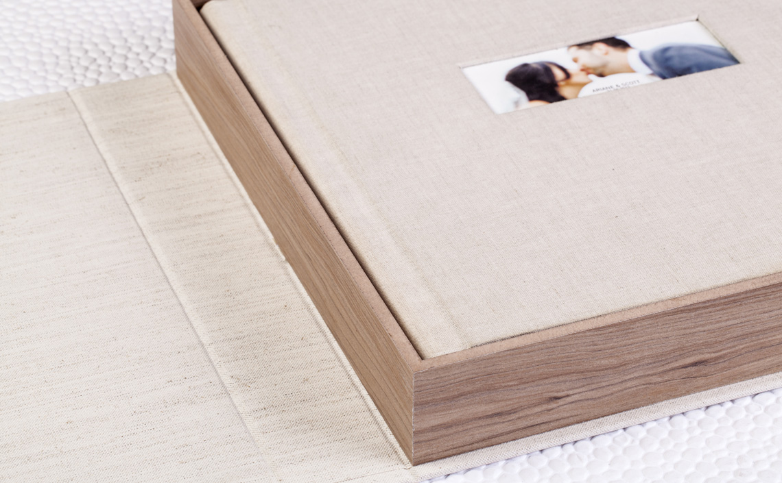 Fotolab Box MDF Macapá em Linho Misto Cru + Álbum em Linho Puro Cru