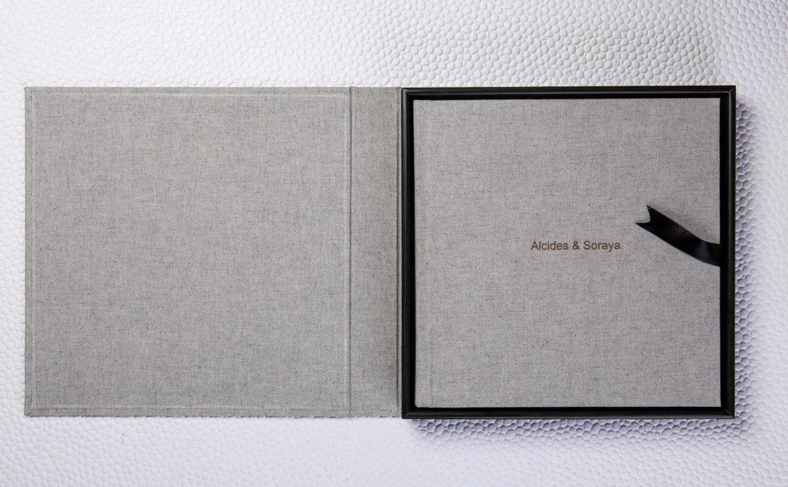 Fotolab Box Preto Ônix em Algodão Eco Cinza + Álbum Capa Algodão Eco Cinza