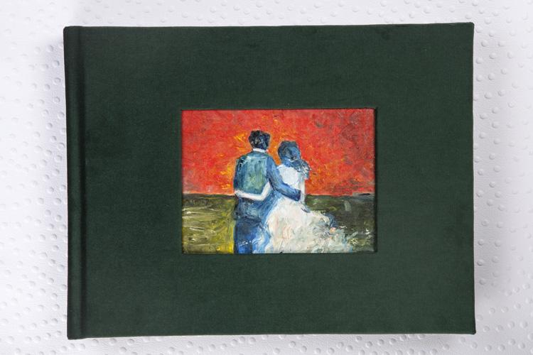 Capa Veludo Alemão Verde + Janela Retangular com pintura Tinta a Óleo + Papel Silk