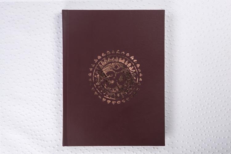 Capa Couro Natural Vinho + Hot Print Cobre + Papel Fosco Pro
